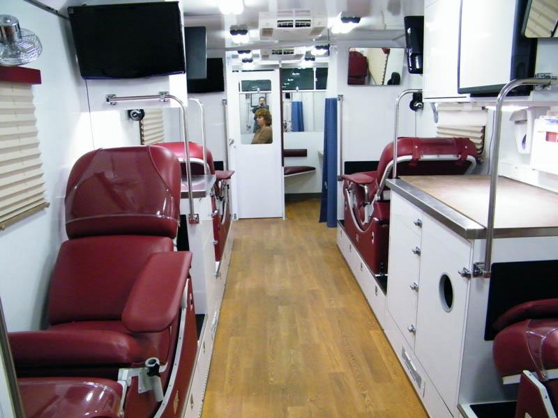 Inside blood mobile