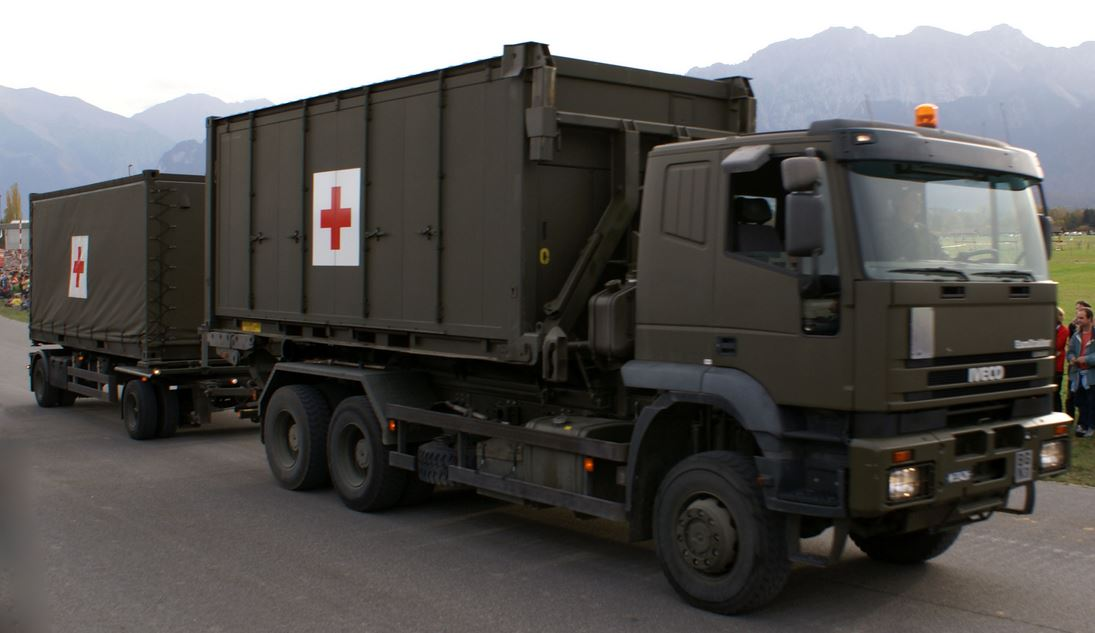 Hospital container in truck