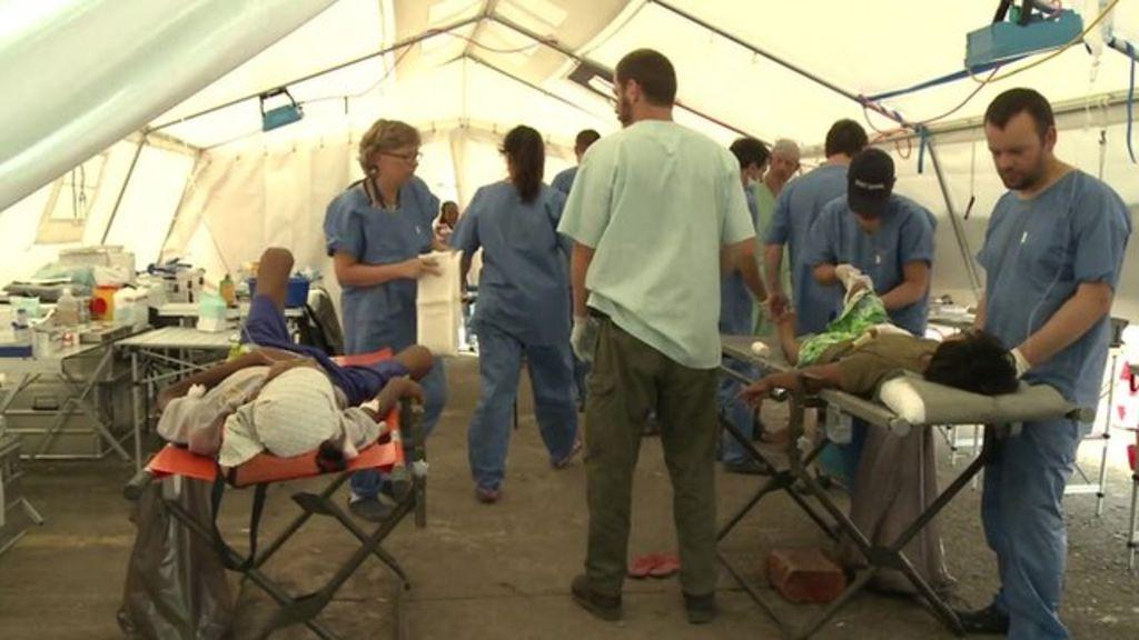Pateints in field hospital